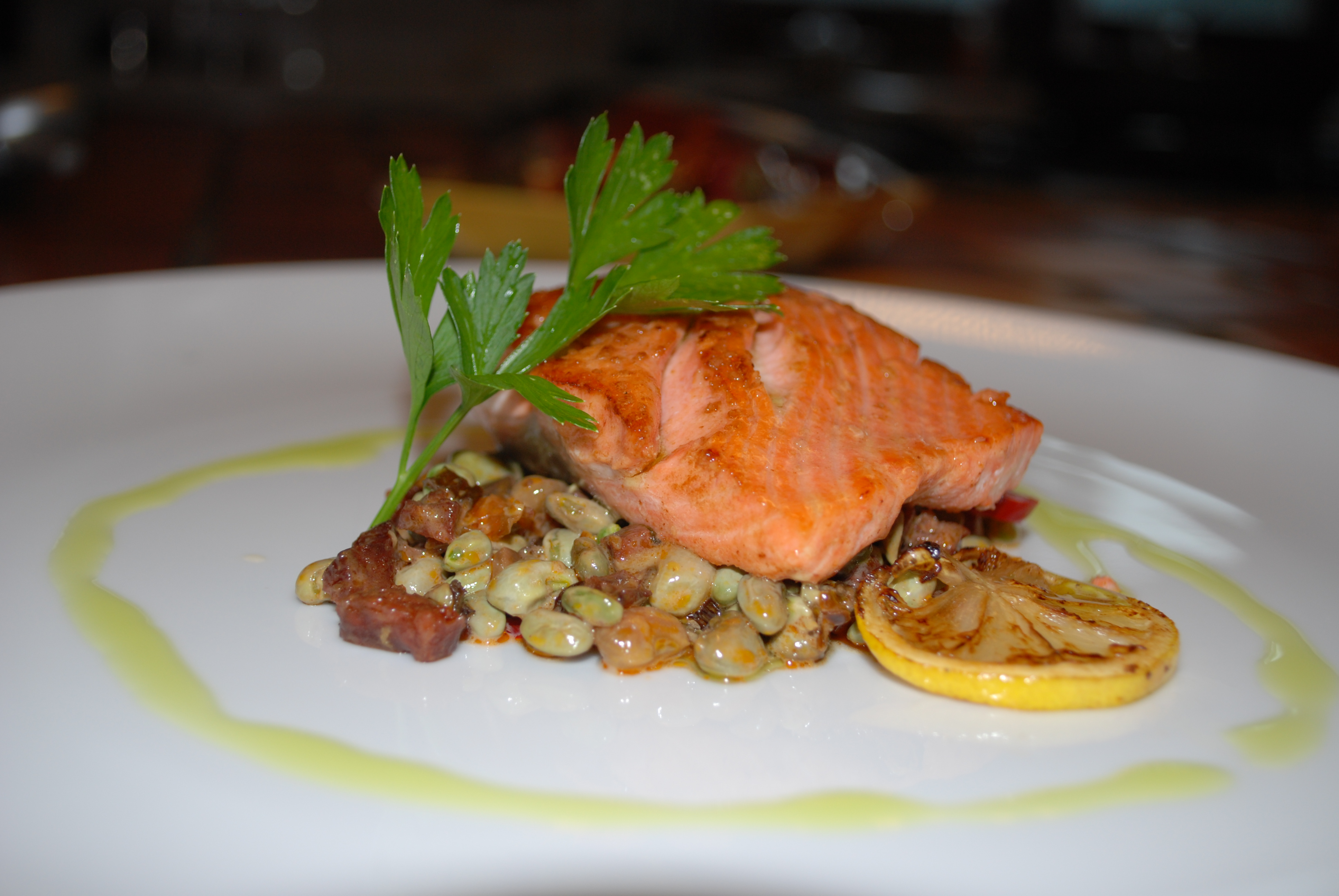 Plate Garnishes for Entries http://whipstone.com/blog/2011/pan-seared-salmon-with-fresh-black-eyed-pea-and-chorizo-relish/
